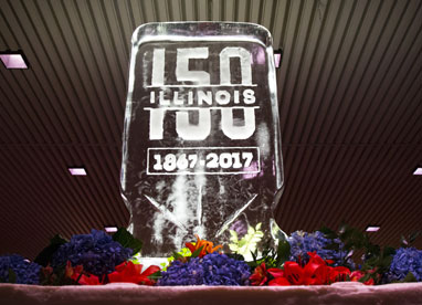 Ice sculpture of the Sesquicentennial 1867-2017 logo