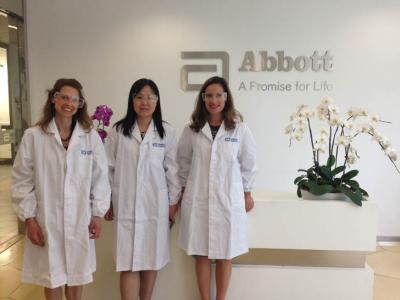Sarah Zehr, Laura Frerichs (Research Park), and Linda Zhao at Abbott Ch