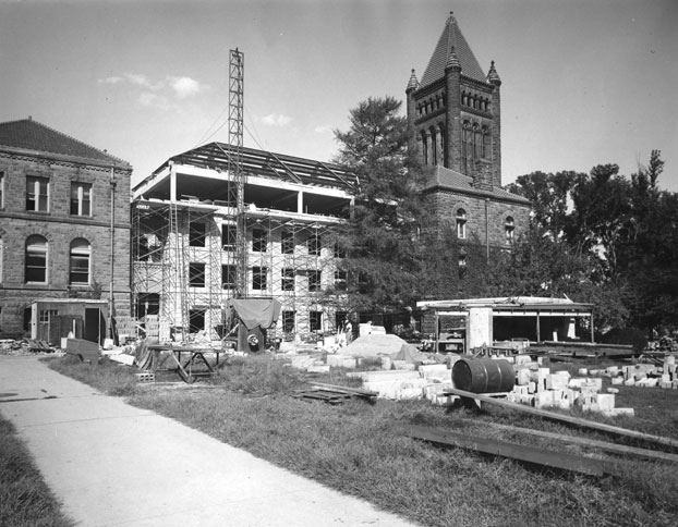 Altgeld Hall Addition under construction, ca. 1956. Credit University Archives.