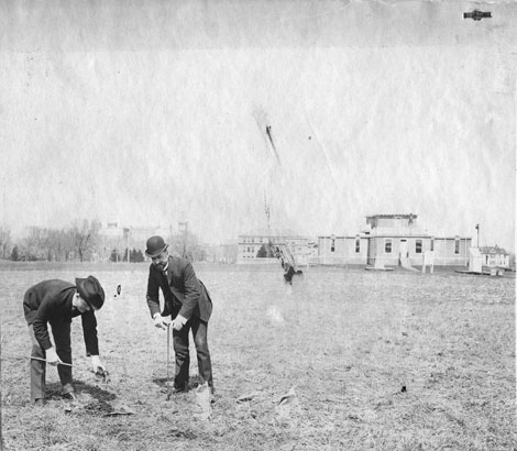 Soil samples taken at the Morrow Plots, April 1904. Credit University Archives.
