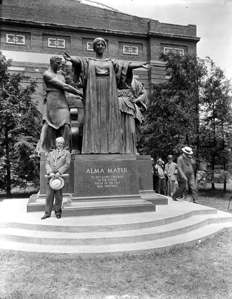 The Alma Mater statue and sculptor, Lorado Taft.